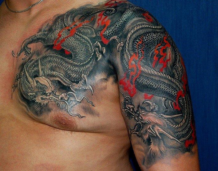 Мужской дракон этнический на плечо тату фото